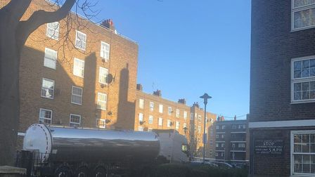 Tankers are pumping in water for tenants at Stamford Hill Housing Estate to use. Picture: Camilla Sz