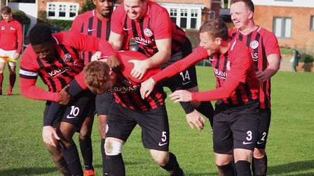 Highgate Albion celebrating their fourth goal of the match (Pic: Hugues.Visuals)