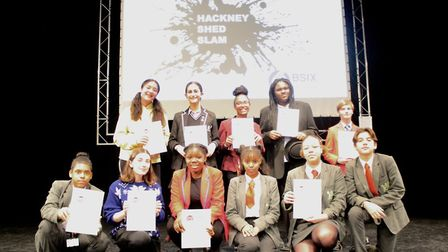 Finalists and Skinners' Academy Year 9 singers Samia Abdilla and Mateo Carmona after the winner and