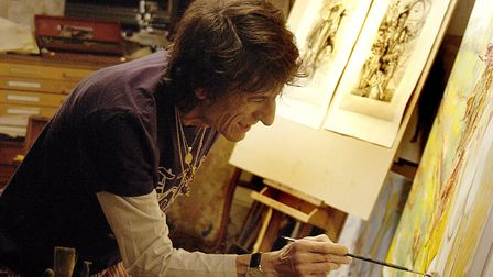 Ronnie Wood exhibits his artworks at the pop up gallery at Marylebone