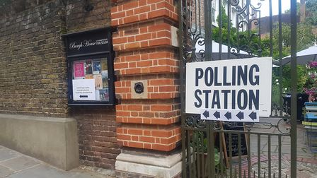 A polling station sign outside Burgh House in 2018. Picture: Harry Taylor