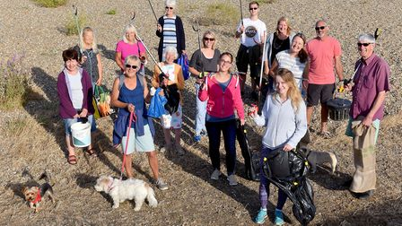 Kessingland Beach Clean volunteers start another litter pick along the Kessingland coast.Picture: Ni