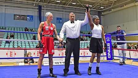 Finchley's Patricia Mbata celebrates (pic Andy Chubb/England Boxing)