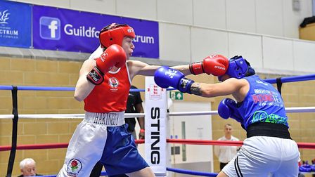 Haringey's Colleen Roach hits out (pic Andy Chubb/England Boxing)