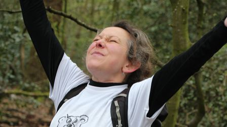 Sally Bailey in full flow in Highgate Wood. Picture: Diddlesanddinx / Sally Bailey