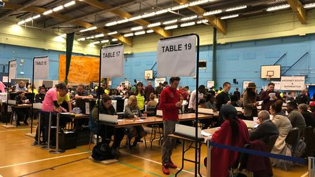 Counting is underway at the Britannia Leisure Centre. Picture: Emma Bartholomew