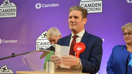 Keir Starmer speaks after retaining his seat at the 2019 General Election. Picture: Harry Taylor