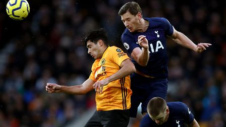 Wolverhampton Wanderers' Raul Jimenez and Tottenham Hotspurs' Jan Vertonghen (right) during the Prem