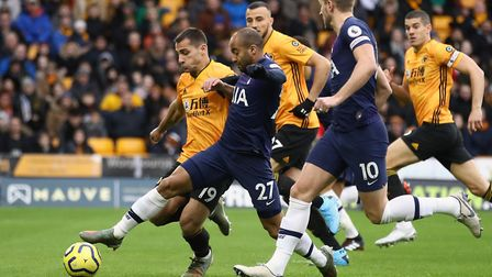 Wolverhampton Wanderers Castro Jonny (left) is challenged by Lucas Moura at Molineux
