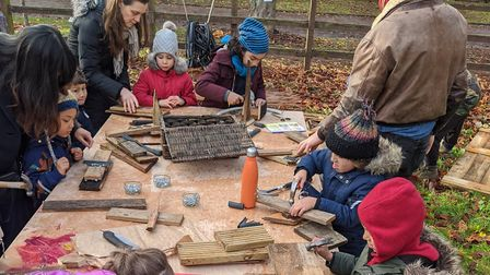 Kids learnt to use tools and made crafts with a group of parents from Newham called Natural Crafts.