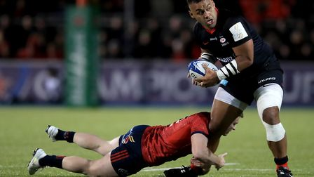 Saracens' Billy Vunipola is tackled during the European Rugby Champions Cup pool four match at Allia