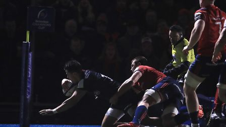 Saracens' Sean Maitland goes over for their first try during the European Rugby Champions Cup pool f