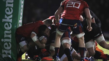 Saracens' Mako Vunipola scores their second try during the European Rugby Champions Cup pool four ma