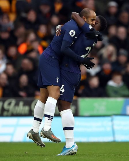 Tottenham's Lucas Moura celebrates scoring at Molineux