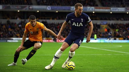 Tottenham's Harry Kane shields the ball during the Premier League match at Molineux