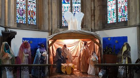 Life-size nativity display at St Mary's Church in Stoke Newginton.