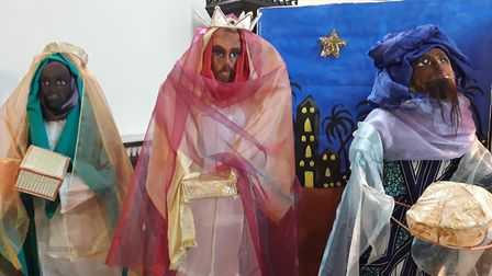 Year 6 students from St Mary's school made the nativity characters out of willow sticks and paper ma