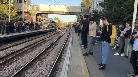 Commuters left waiting as trains cancelled at Hackney Central overground station. Picture: Emma Bart