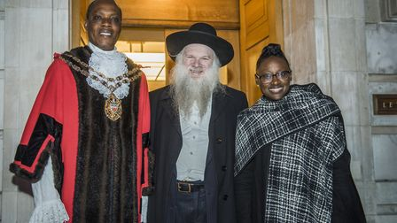 Hackney Speaker Kam Adams, Rabbi Herschel Gluck OBE, and deputy mayor Antoinnette Bramble at Hackney