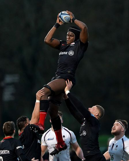 Saracens' Maro Itoje (right) wins a lineout during the Gallagher Premiership match at Allianz Park,