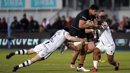 Saracens Will Skelton is tackledduring the Gallagher Premiership match at Allianz Park, London.
