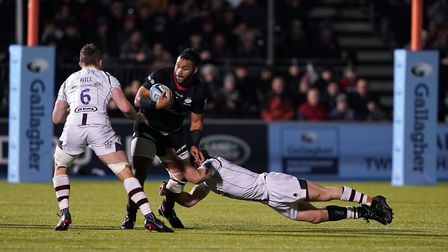 Saracens Billy Vunipola is tackled during the Gallagher Premiership match at Allianz Park, London.