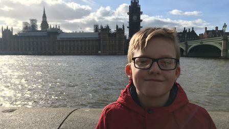 Daniel Jillings in front of the Palace of Westminster. Picture: Ann Jillings