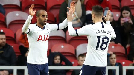 Tottenham Hotspur's Lucas Moura (left) celebrates scoring his side's first goal with Giovani Lo Cels