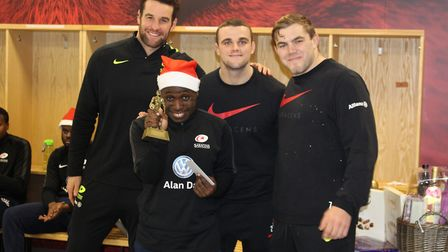 Saracens players helped spread some Christmas cheer to the club's disability programme