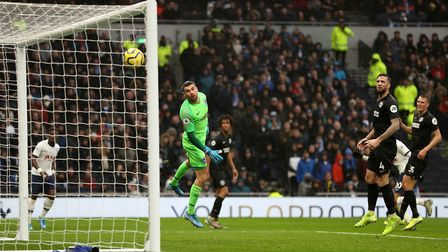 Brighton and Hove Albion goalkeeper Mathew Ryan watches as Tottenham Hotspur's Dele Alli (right, hid