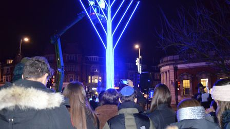 Families at the nighly Menorah lighting in Golders Green during Hannukah. Picture: Tzivos Hashem