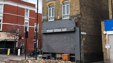 The bricks fell from above Stokey Vintage Cafe. Picture: Niki Shore