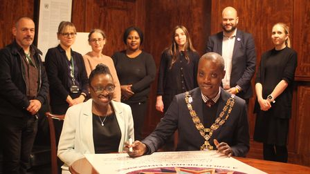 Hackney Speaker Kam Adams signs up to Project 17's Children's Charter. Picture: Hackney Council