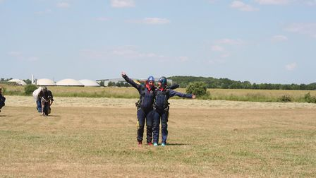 Stacey Foulger and Lucy Ellis completed a tandem skydive at Beccles Airfield. Picture: Inspire Suffo