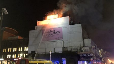 Fire rips through the roof of the Camden nightclub Koko. Picture: Oliver Cooper