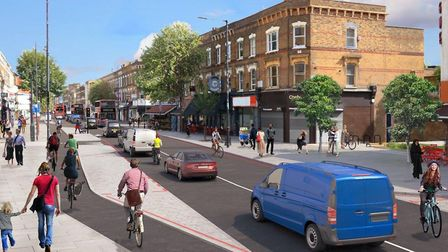 An artist's impression of how Stoke Newington High Street could look with two-way traffic, once over