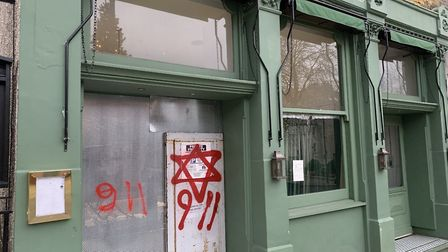 The graffiti was sprayed around Hampstead. Picture: James Sorene