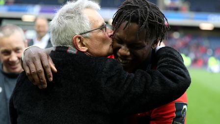 Saracens' chairman Nigel Wray (left) and Maro Itoje celebrate after winning the European Champions C