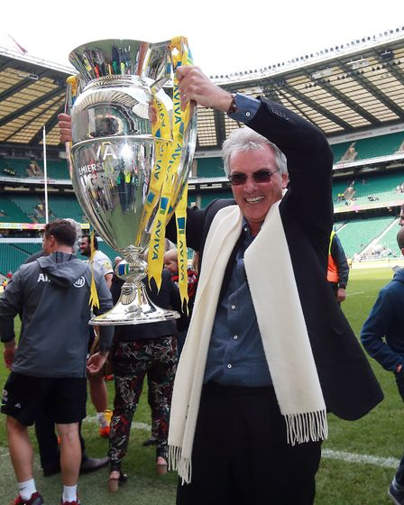 Saracens' chairman Nigel Wray celebrates with the trophy after victory in the Aviva Premiership Fina