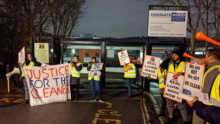 Cleaners on strike at Highgate Wood School. Picture: Sam Volpe
