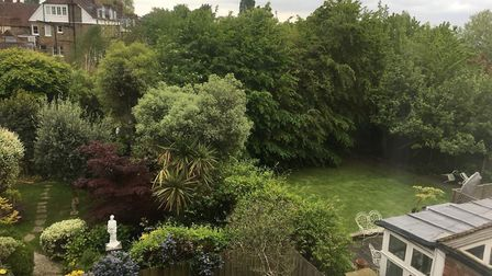 Two homes will be built in these back gardens in Arkwright Road. Picture: Hampstead Village Voice.