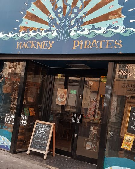 """The Literacy Pirates """"ship"""" in Kingsland High Street, Dalston."""