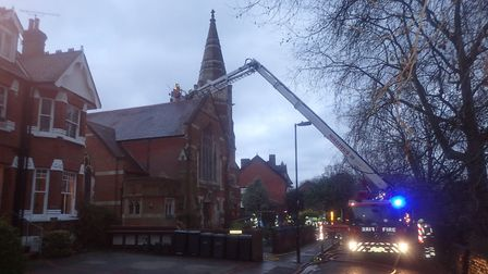 Firefighters tackle a blaze at Hornsey Moravian Church in Priory Road. Picture: LFB