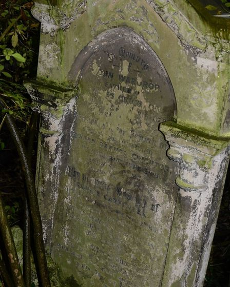 Edward Crichton's grave in Abney Park cemetery. Picture: Eric Kingsley