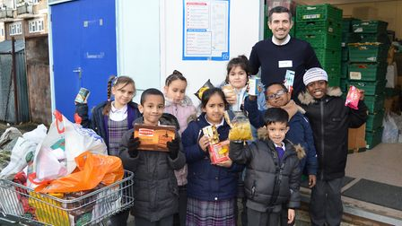 Students at the school have been collecting food and filling shoe boxes with gifts and treats as par