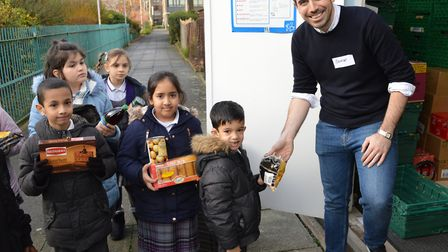 Pupils and staff at The Olive School in Stoke Newington donated food to the Hackney foodbank at the