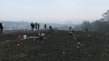 Litter-pickers on Hampstead Heath after New Year's Eve. Picture: City of London Corporation