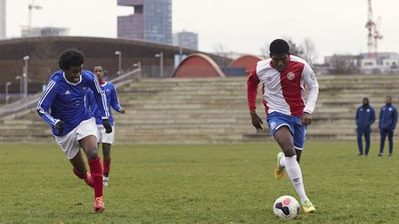 Sporting Club de Mundial in action against Hackney Downs. Picture: James Starkey