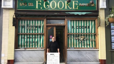 Bob Cooke at the now-closed pie and mash shop in Broadway Market. Picture: Joe Goodman