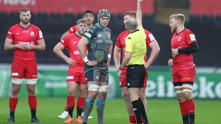 Saracens Rhys Carre is shown the red card
